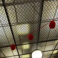 音樂餐廳復古木紋鋁窗花定制
