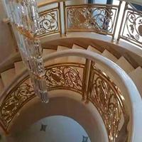 豪华酒店铝艺直型楼梯金色护栏凸显整间酒店的气派