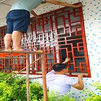 景区外立面改造焊接木纹铝窗格 风铝合金防盗铝花窗 铝窗花铝花格尺寸可定做