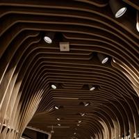 扬州休闲茶艺馆弧形铝方通装饰